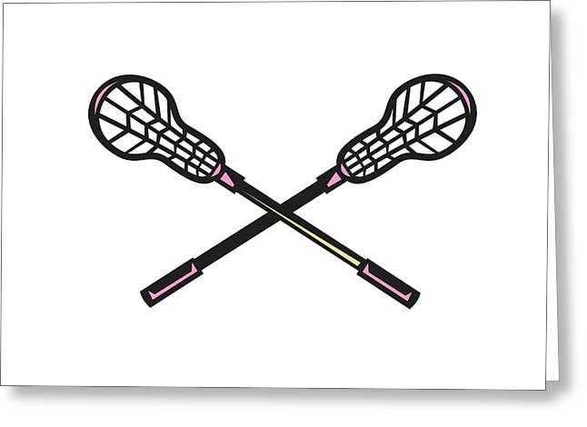 Lacrosse Stick Woodcut Greeting Card by Aloysius Patrimonio