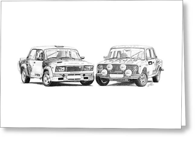 Rally Drawings Greeting Cards - Lada VFTS and Groupe 2 Race Cars Greeting Card by Gabor Vida