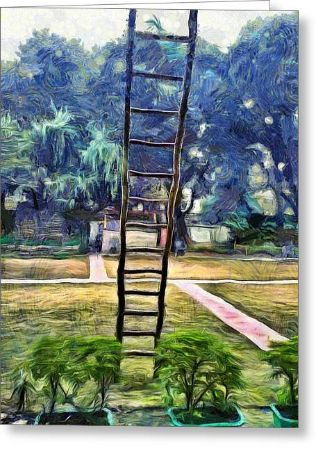 Ladder Propped Up Against Wall Greeting Card