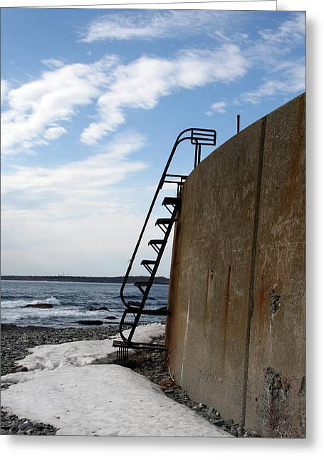 Ladder To The Snow Greeting Card by Jeff Porter