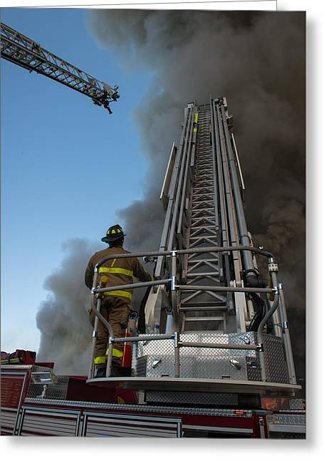 Ladder Truck Greeting Card by Ken Lager