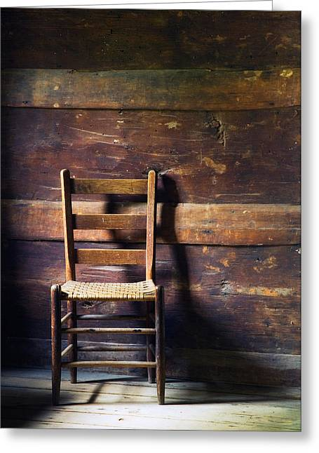 Ladderback Chair In Empty Room Greeting Card by Panoramic Images