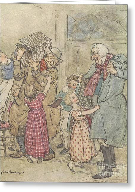 Laden With Toys And Presents Greeting Card by Arthur Rackham