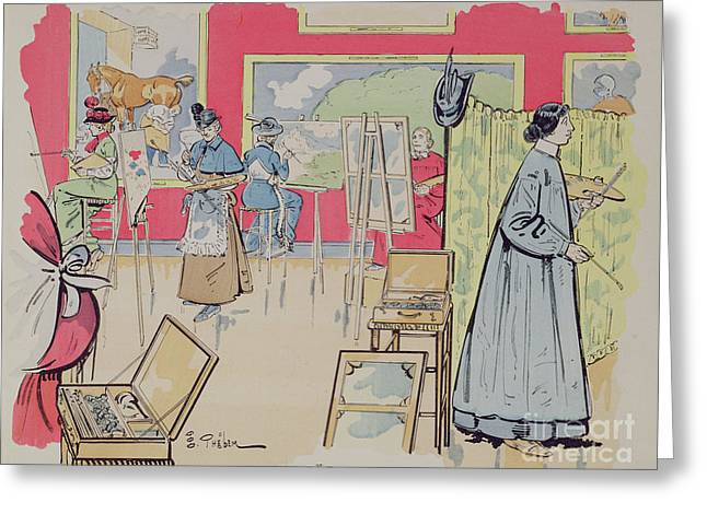Ladies Attending A Painting Class, 1902 Greeting Card