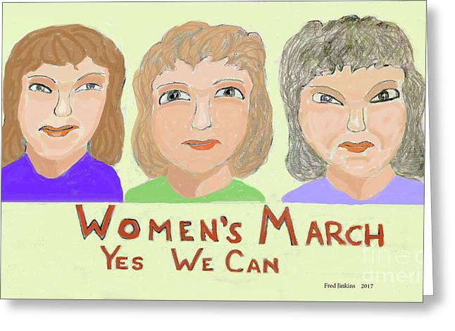 Ladies Marching Greeting Card by Fred Jinkins
