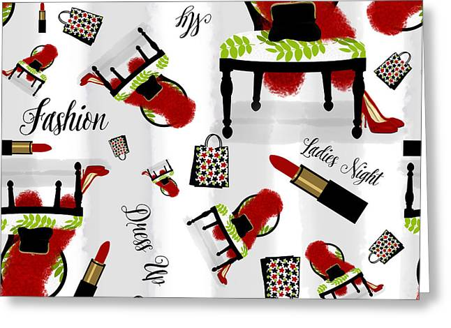 Ladies Night Out Fashion Pattern, Feather Boa, Lipstick, Shopping Greeting Card by Tina Lavoie