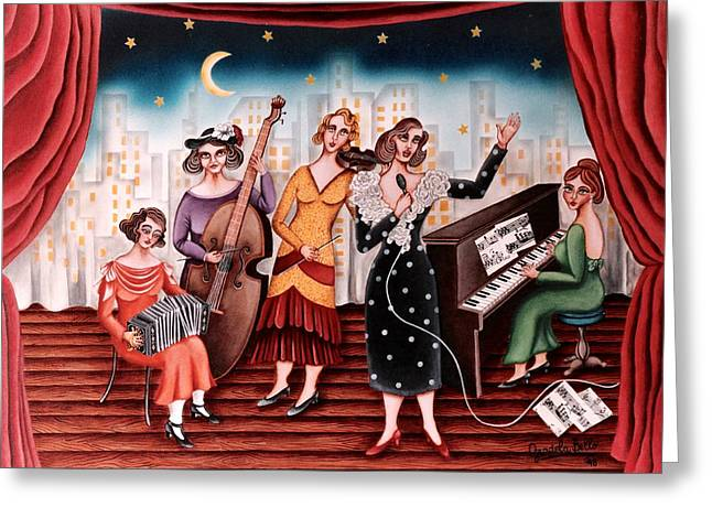 Ladies Orchestra Greeting Card by Graciela Bello