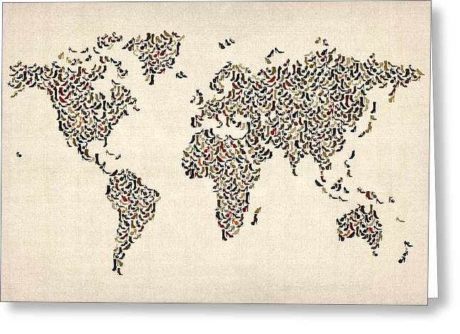 World Map Canvas Greeting Cards - Ladies Shoes Map of the World Map Greeting Card by Michael Tompsett