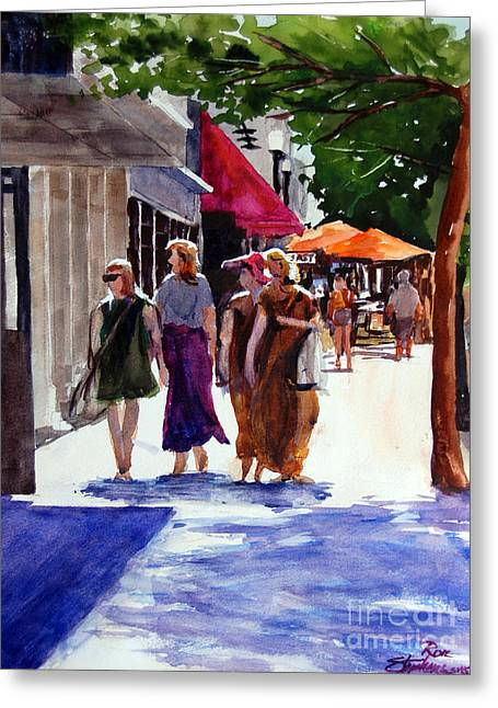 Ladies That Shop Greeting Card by Ron Stephens