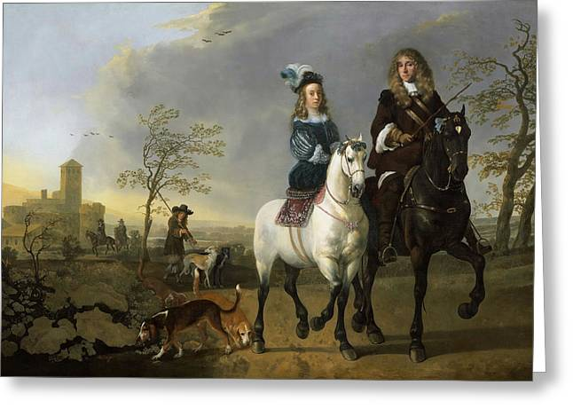 Lady And Gentleman On Horseback Greeting Card by Celestial Images