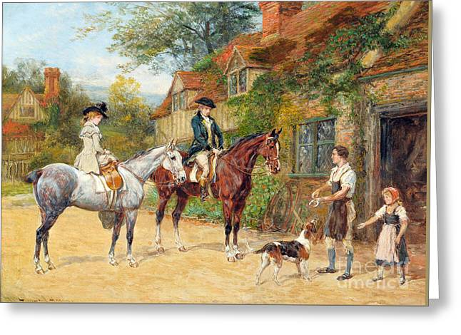 Lady And Gentleman On Horseback Greeting Card by MotionAge Designs