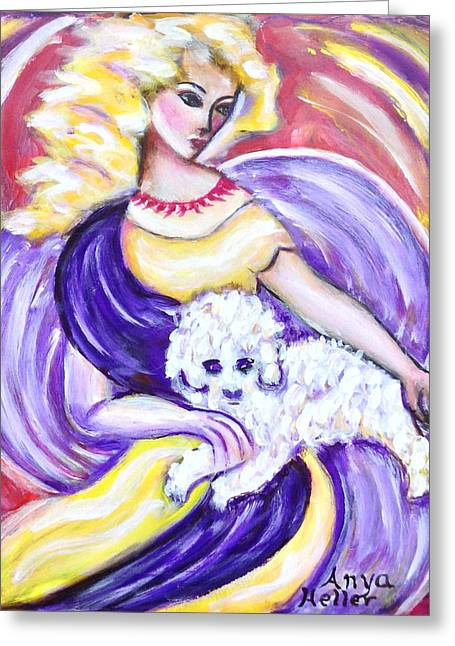 Greeting Card featuring the painting Lady And Maltese by Anya Heller