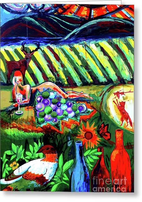 Greeting Card featuring the painting Lady And The Grapes by Genevieve Esson