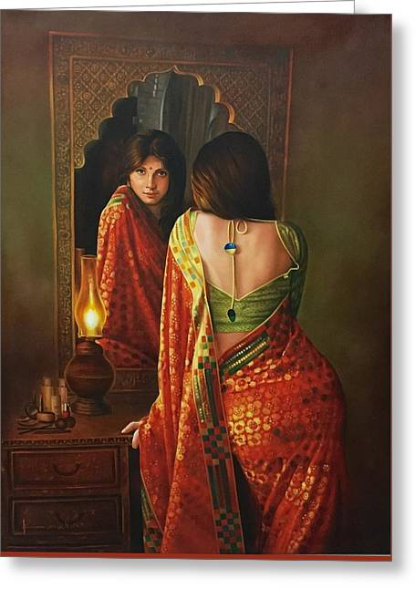 Lady And The Mirror Greeting Card by Kamal  Rao