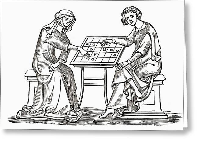 Lady And Youth Playing Draughts, Or Greeting Card