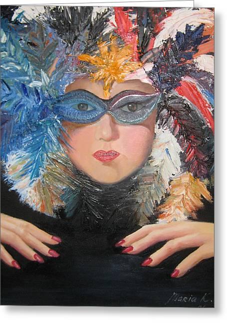 Lady At A Carvinal  Greeting Card by Maria Kobalyan