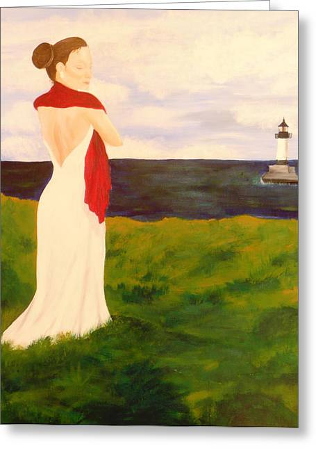Lady At The Ocean Greeting Card by Jennifer Hernandez