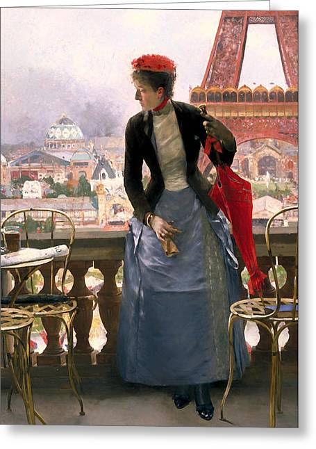 Lady At The Paris Exposition Greeting Card by Mountain Dreams