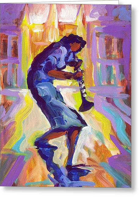 Lady Blue Plays Clarenet At The Saint Louis Cathedral Greeting Card by Saundra Bolen Samuel