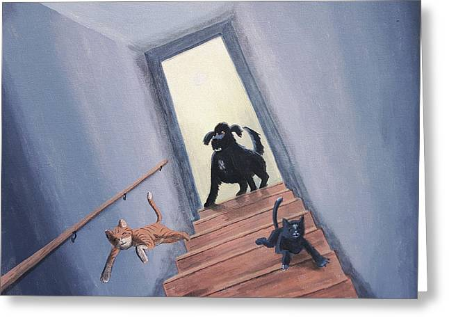 Lady Chases The Cats Down The Stairs Greeting Card