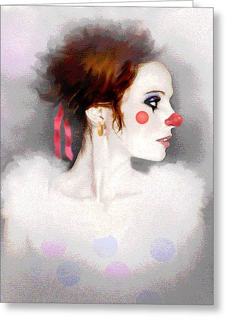 Lady Clown Greeting Card by Robert Foster