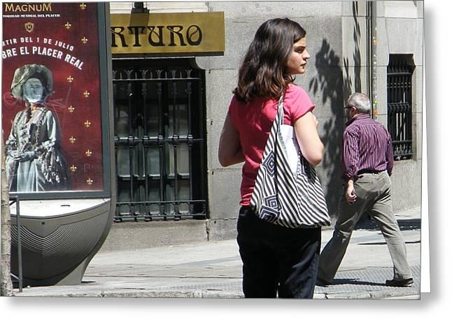 Lady Crossing Sagasta Street - Madrid Greeting Card by Thomas Bussmann