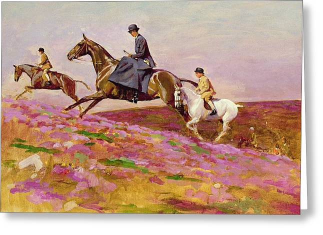 Flowers On Hat Greeting Cards - Lady Currie with Her Sons Bill and Hamish Hunting on Exmoor  Greeting Card by Cecil Charles Windsor Aldin