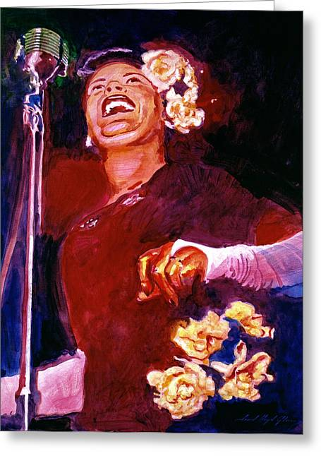 Lady Day - Billie Holliday Greeting Card by David Lloyd Glover