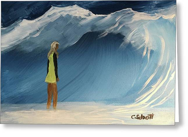 Lady Faces The Wave Greeting Card