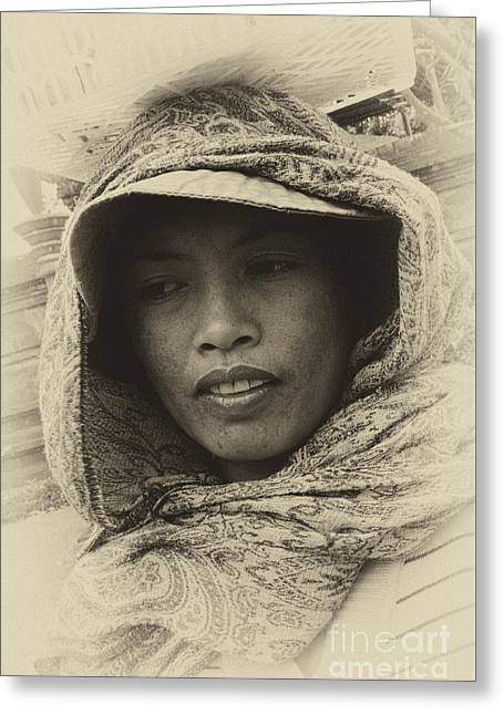 Lady From Bali Greeting Card by Bob Christopher