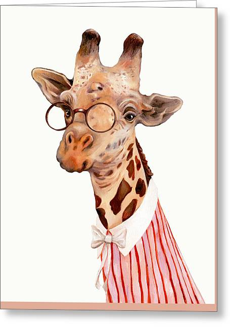 Lady Giraffe Greeting Card by Animal Crew