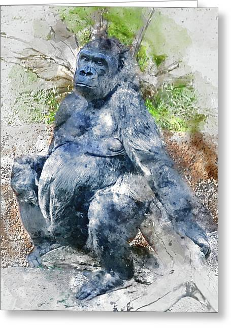 Lady Gorilla Sitting Deep In Thought Greeting Card