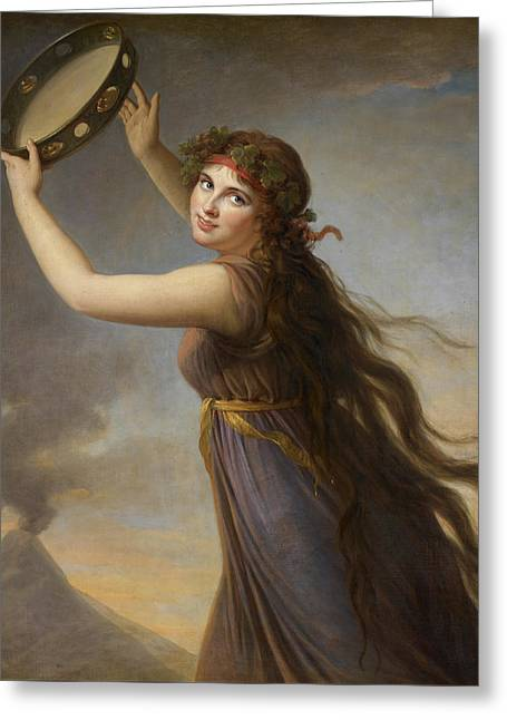Lady Hamilton, As A Bacchante Greeting Card by Elisabeth Louise Vigee-Lebrun