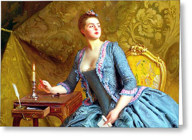 Lady In An Interior Greeting Card