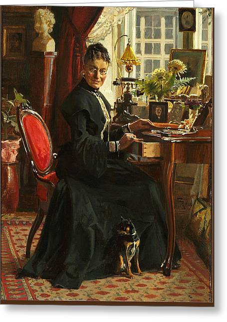 Lady In Black Greeting Card by Frants Henningsen