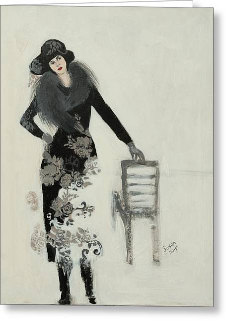 Lady In Black With Flowers Greeting Card