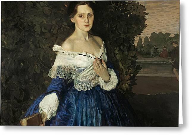 Lady In Blue. Portrait Of Ye.m. Martynova Greeting Card by Konstantin Somov
