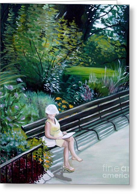 Greeting Card featuring the painting Lady In Central Park by Elizabeth Robinette Tyndall