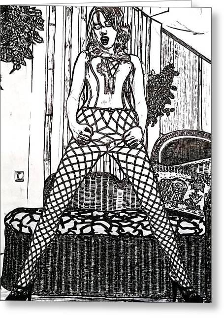 Lady In Fishnet Tights Greeting Card by Tom Miskell