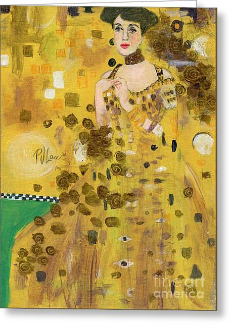 Lady In Gold Greeting Card by P J Lewis