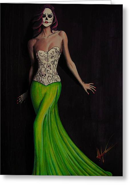 Lady In Green Greeting Card by Aaron  Montoya