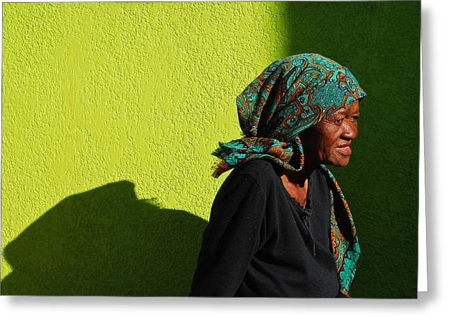 Lady In Green Greeting Card by Skip Hunt