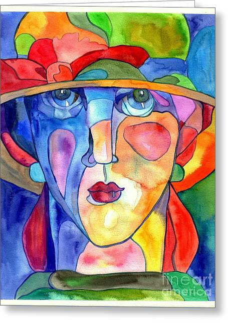 Lady In Hat Watercolor Greeting Card