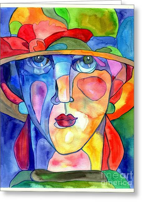 Old lady greeting cards fine art america lady in hat watercolor greeting card m4hsunfo