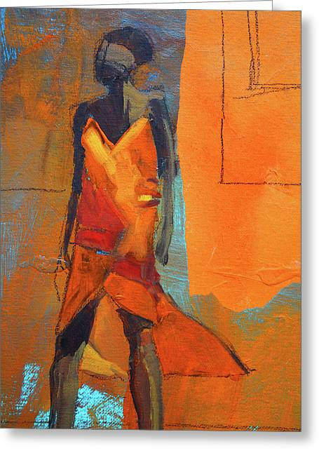 Greeting Card featuring the painting Lady In Orange by Nancy Merkle