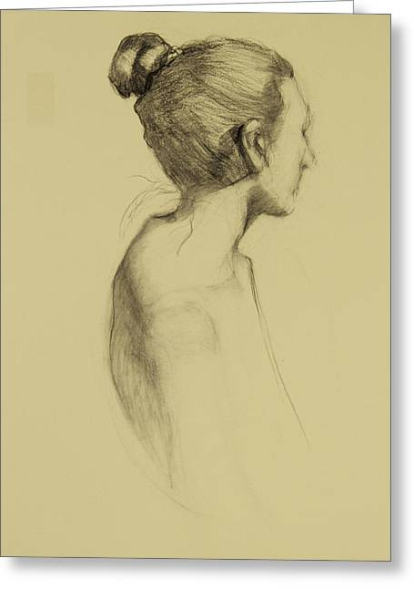Lady In Profile Greeting Card by Susan Fowler