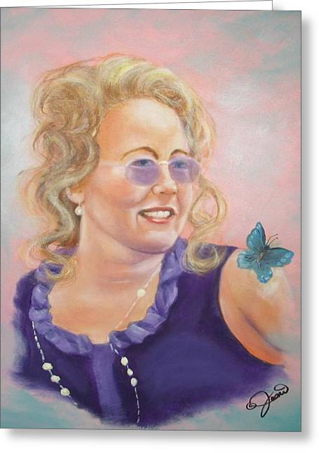 Lady In Purple Greeting Card by Joni McPherson