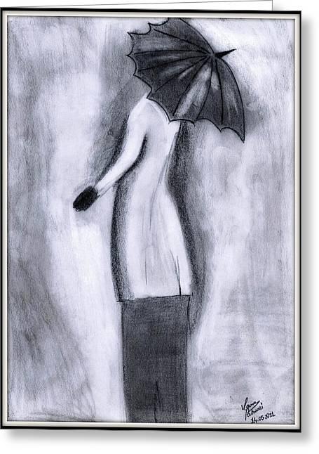 Lady In Rain Greeting Card by Gaurav Patwari