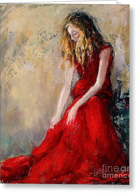 Lady In Red 2 Greeting Card