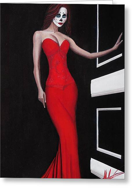 Lady In Red Greeting Card by Aaron  Montoya